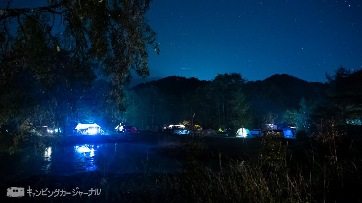 銀河もみじキャンプ場のキャンプサイトでも星空はみられます